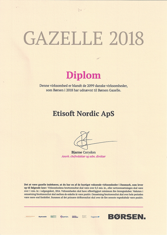 Etisoft Nordic_Børsen Gazellele pris_2018