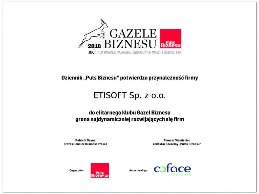 """Etisoft - """"Gazele Biznesu 2018"""""""
