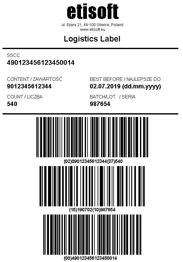 etykieta logistyczna w standardzie GS1