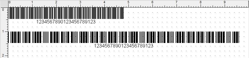 Wydruk na głowicy 203 dpi, kod 3z9, moduł 1 (0,125 mm) oraz moduł 2 (0,250 mm), proporcje 1 do 3
