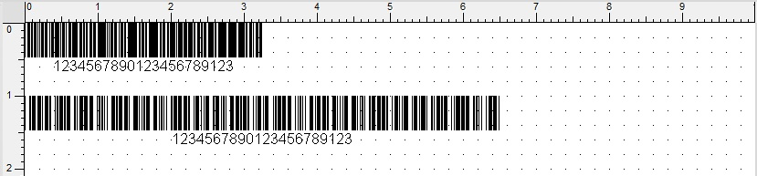 Wydruk na głowicy 300 dpi, kod 3z9, moduł 1 (0,086 mm) oraz moduł 2 (0,172 mm), proporcje 1 do 3